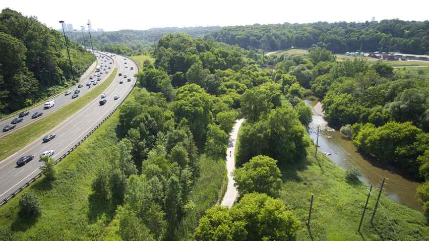 The Don River is seen from the Leaside Bridge in Toronto, Ont. July 8, 2011.