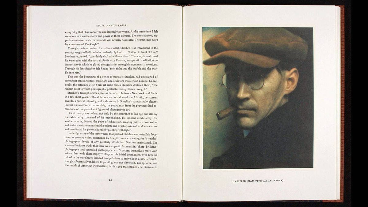 A spread from a book on Edward Steichen with photo entitled 'Untitled (Man with Cap and Cigar).