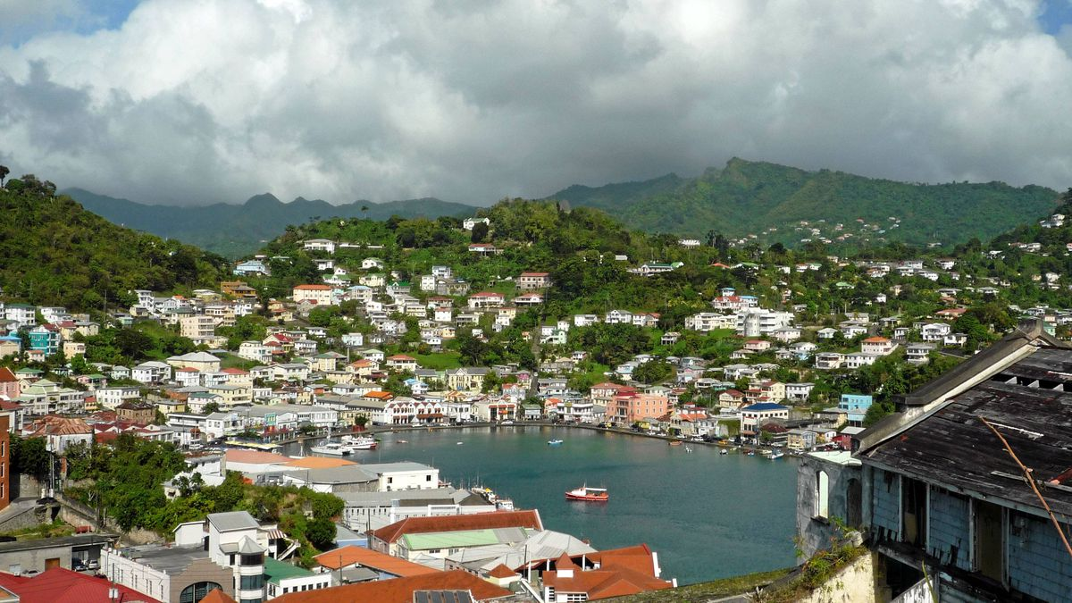 A view of the St. George's horseshoe-shaped harbour in Grenada, as seen from Fort George. The harbour, with its Carenage waterfront area, is often described as the prettiest in the Caribbean.