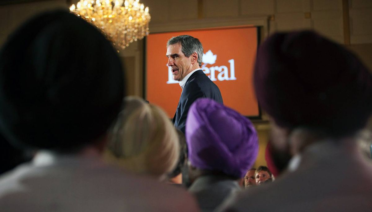 Liberal Leader Michael Ignatieff addresses supporters in an election style rally in Surrey, B.C., on Sept. 4, 2009.