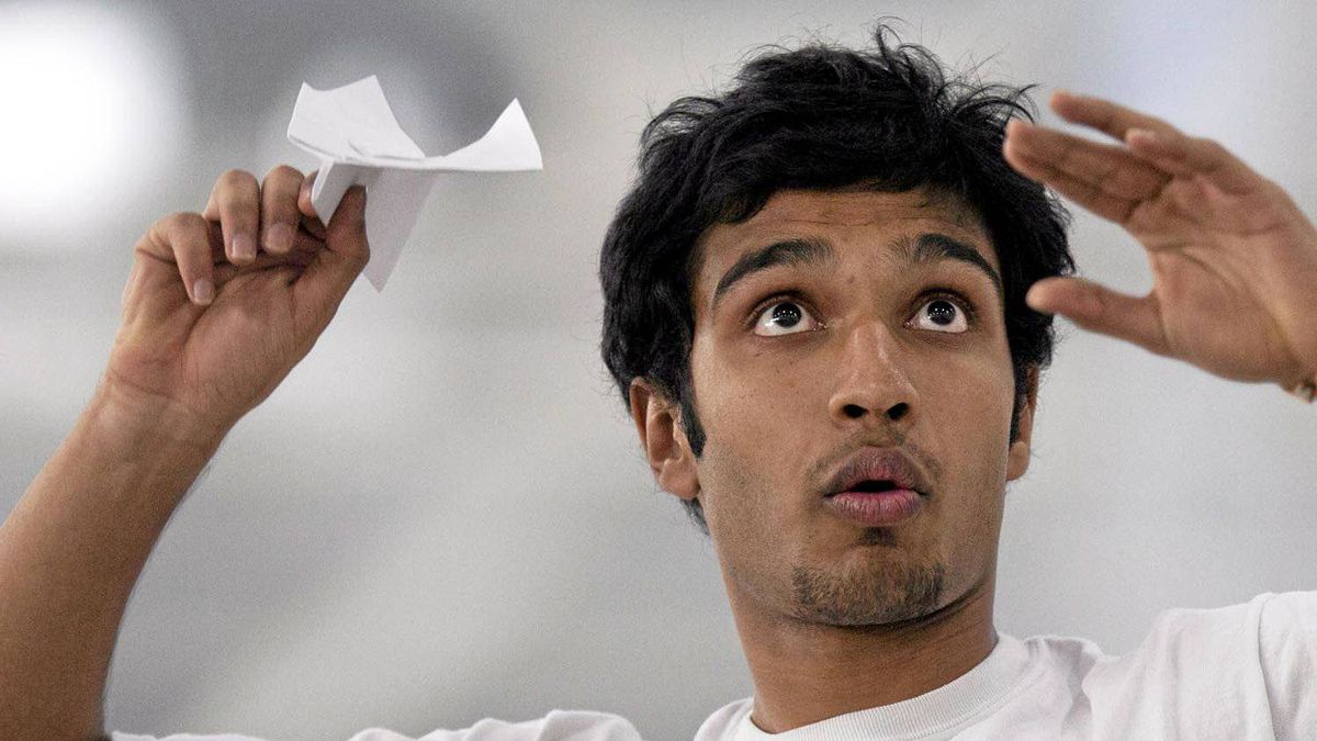 Ashwin Phatak of St. Mary's University in Halifax winds up for the toss at the Red Bull Paper Wings paper airplane competition in Toronto Apr. 2, 2012. Phatak placed third overall. Winners at the event earned a spot in the World Championship being held in Salzburg, Austria in May.