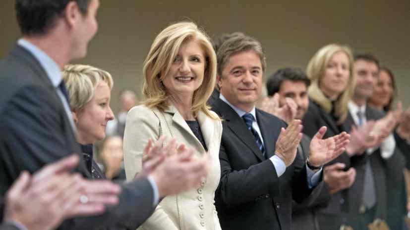 Huffington Post creator Arianna Huffington is applauded as she is introduced prior to addressing a business luncheon about the impact of social media Wednesday, Feb. 8, 2012 in Montreal.
