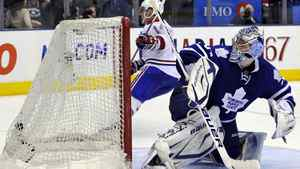 Toronto Maple Leafs goaltender James Reimer is scored on by Montreal Canadiens forward Tomas Plekanec (L) during the third period of their NHL hockey game in Toronto April 9, 2011. REUTERS/Mike Cassese