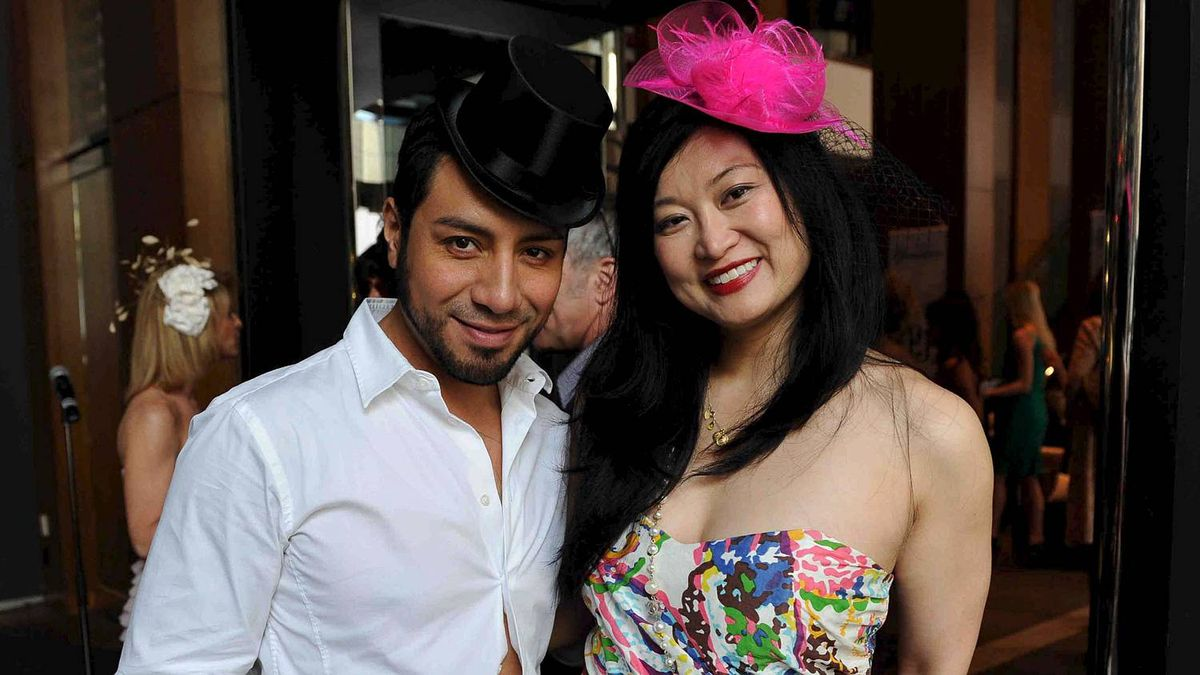 Esteban Ortiz and Wai-Yee Lam at Fascinator Frenzy.
