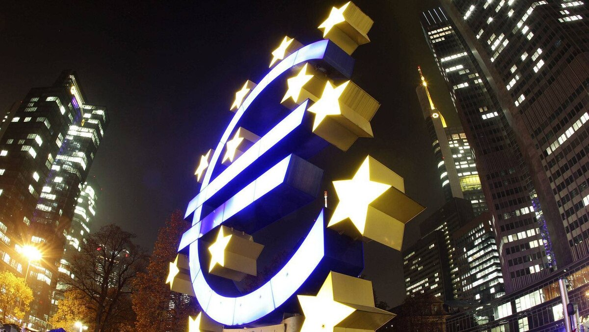 The Euro sculpture stands in front of the European Central Bank in Frankfurt, Germany.