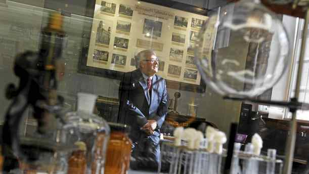 President of Sanofi Pasteur Canada in one of the small museums housed on the company's Downsview campus