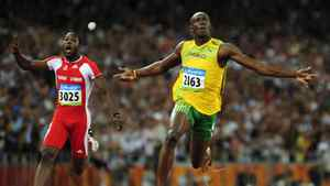 Usain Bolt of Jamaica (R) runs past Richard Thompson of Trinidad and Tobago at the Beijing 2008 Olympic Games August 16, 2008. Surprise, surprise. Any talk of the Olympics has to start with the flashy Jamaican sprinter. His performance in Beijing four years ago was magical — gold medals and world records in the 100 metres, 200 metres and sprint relay. Sure, Bolt hasn't been as supernatural for the past couple of years, but expect him to peak just in time for the big show in London. There's no reason he can't win another three golds, though world records may be too much to ask. His toughest competition in the 100 and 200 is likely to come from countryman Yohan Blake.