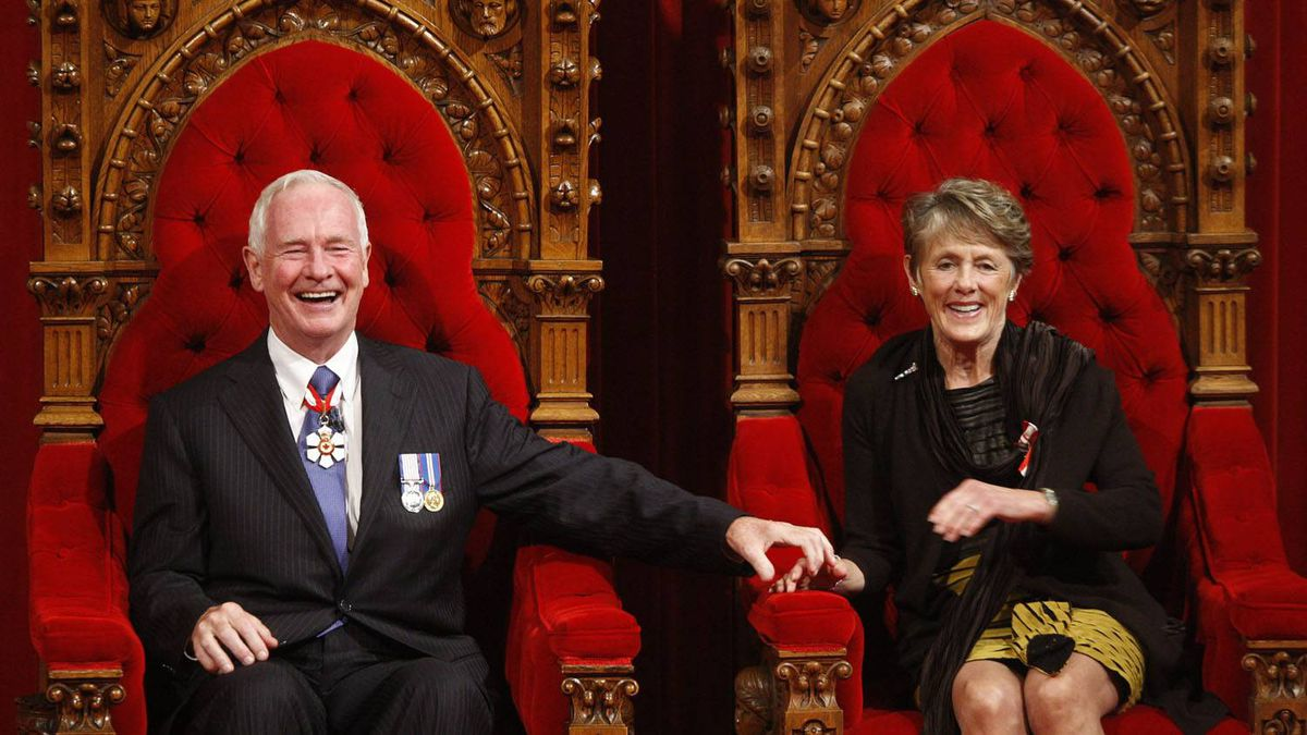 Governor General David Johnston and his wife Sharon sit on the throne after being sworn in as the 28th Governor General in the Senate on Parliament Hill, Friday, Oct. 1, 2010, in Ottawa.