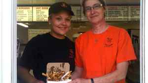 Danika and Joyce, employees of The Riv, a chip stand in Sturgeon Falls, ON