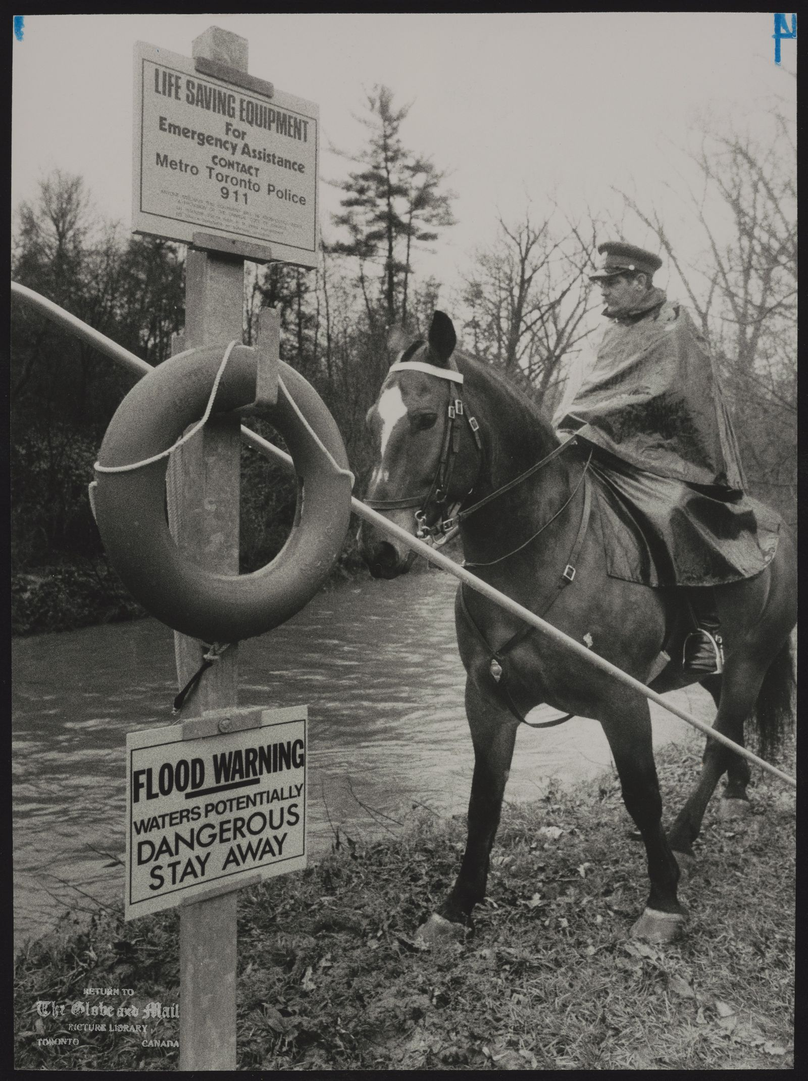 The notes transcribed from the back of this photograph are as follows: Metro Toronto Police Constable Robert Green patrols with his horse Duke along the Don River in Sunnybrook Park yesterday as unusually wet weather continues.