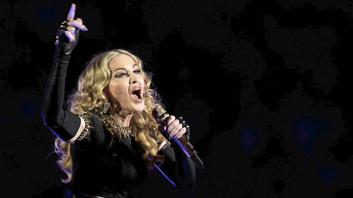 Madonna performs during the halftime show in the NFL Super Bowl XLVI football game in Indianapolis, Indiana, Feb. 5, 2012.