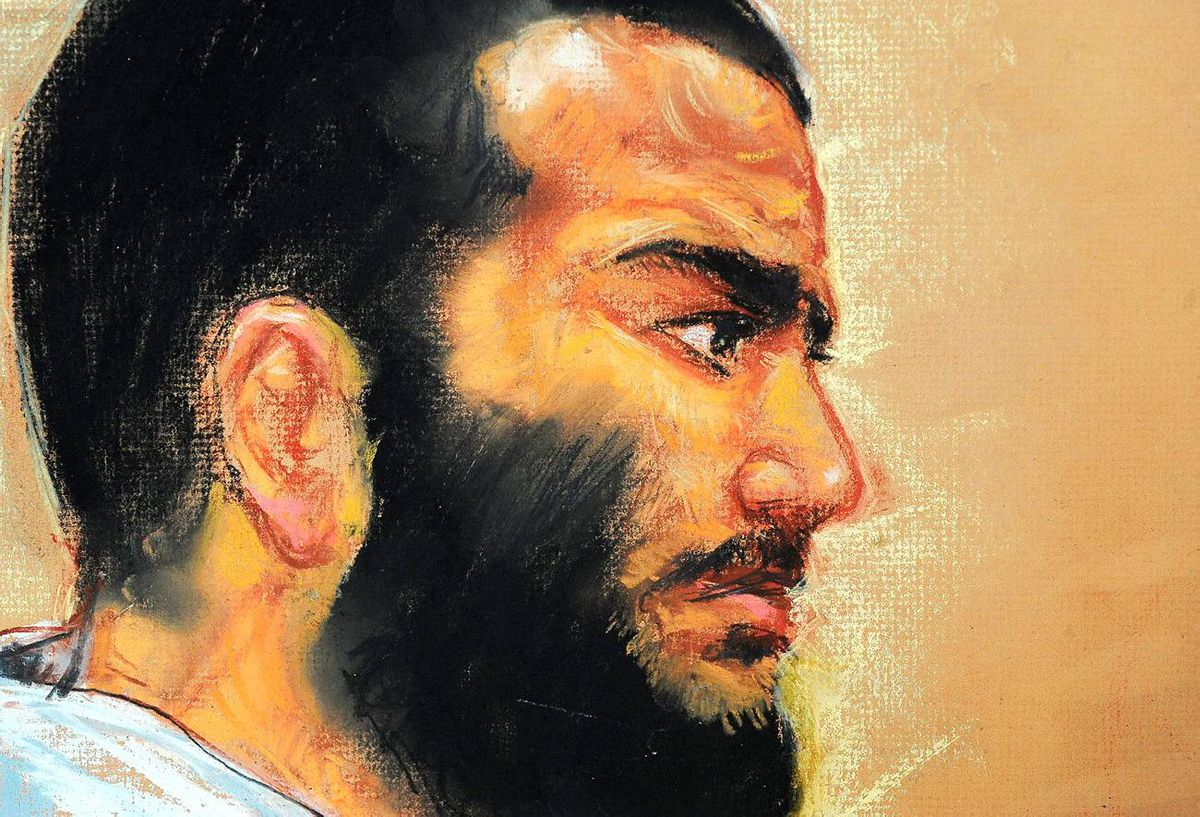 In this courtroom drawing by artist Janet Hamlin, reviewed by the US military, Canadian-born accused terrorist Omar Khadr attends a pre-trial session in Camp Justice on the U.S. Naval Base in Guantanamo Bay, Cuba, Friday, Dec. 12, 2008.