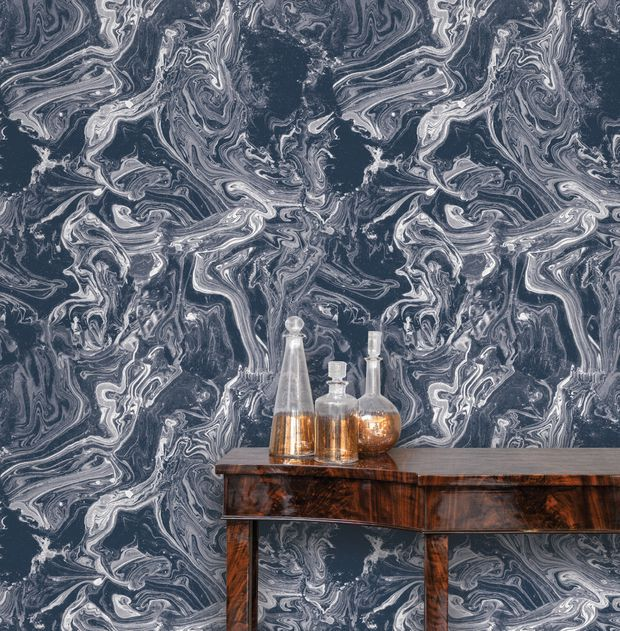 Tempaper's Tokyo Celestial Blue wallpaper. The company has developed a water-based, eco-friendly adhesive that can be stuck on, peeled off and reapplied to ...