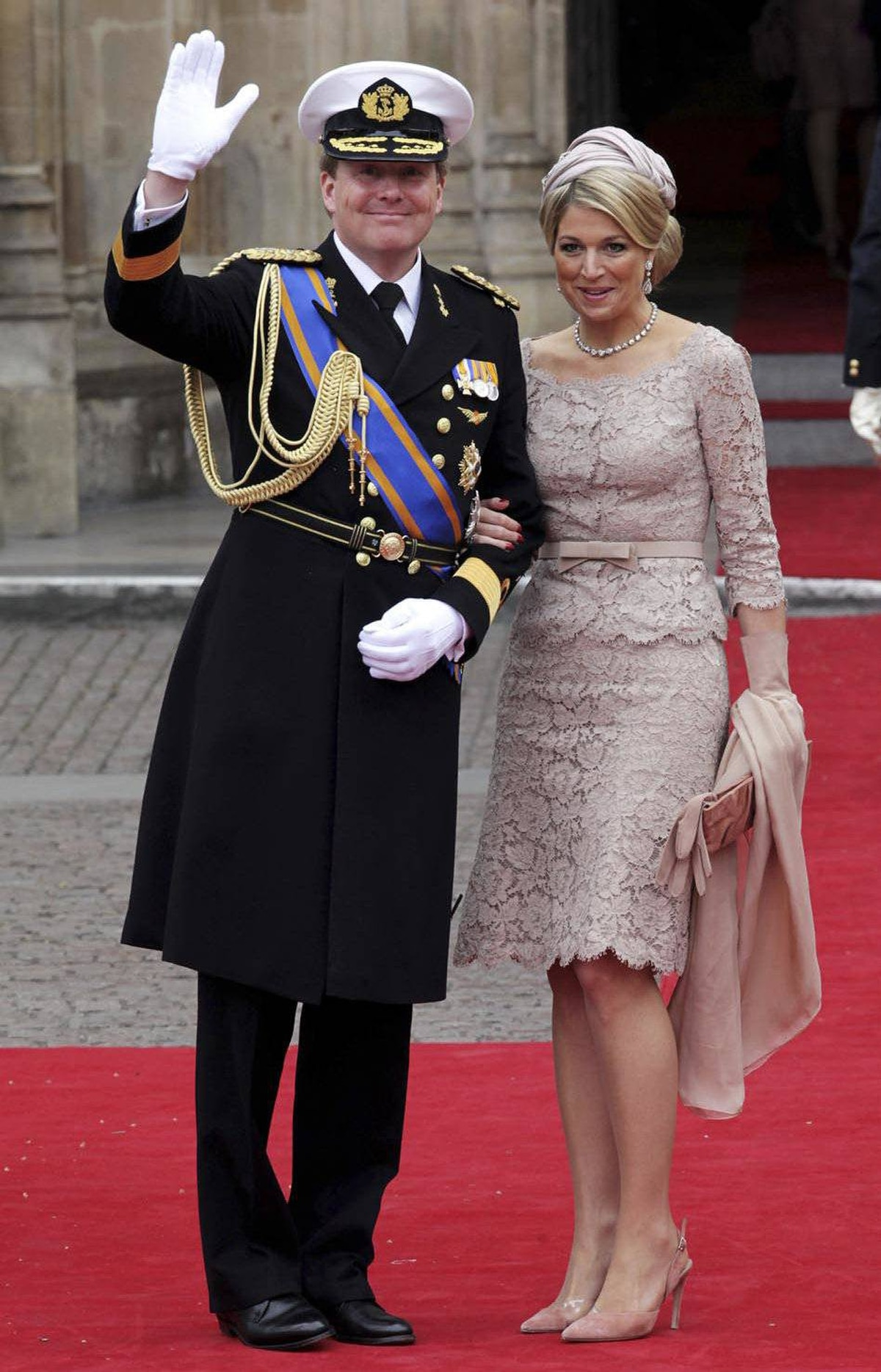 Crown Prince Willem Alexander and Princess Maxima of The Netherlands wave as they arrive to attend the Royal Wedding of Prince William to Catherine Middleton at Westminster Abbey on April 29, 2011 in London, England.