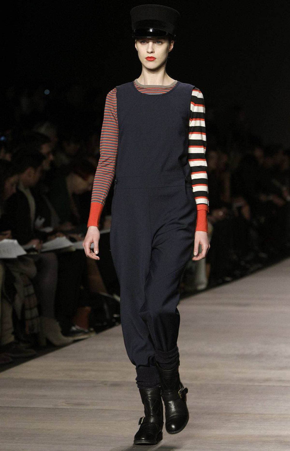 More subversive, in fact, is this navy onesie and the mismatched stripe sleeves.