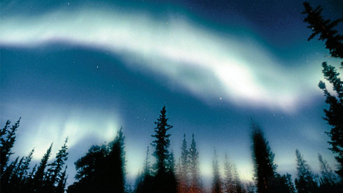 The aurora borialis in Yellowknife, Northwest Territories.
