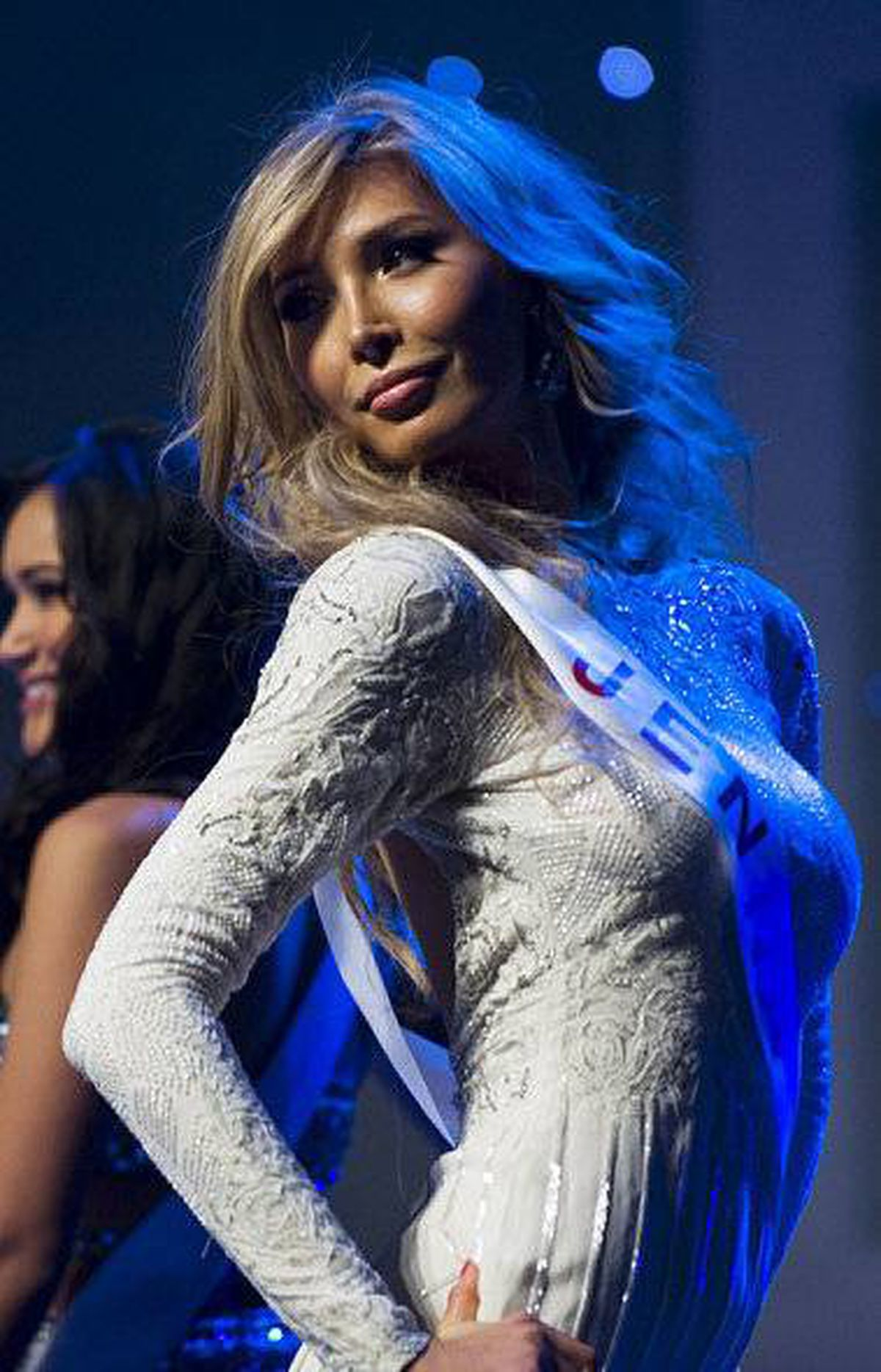 Jenna Talackova is seen on stage at the Miss Universe Canada contest in Toronto on May 17, 2012.