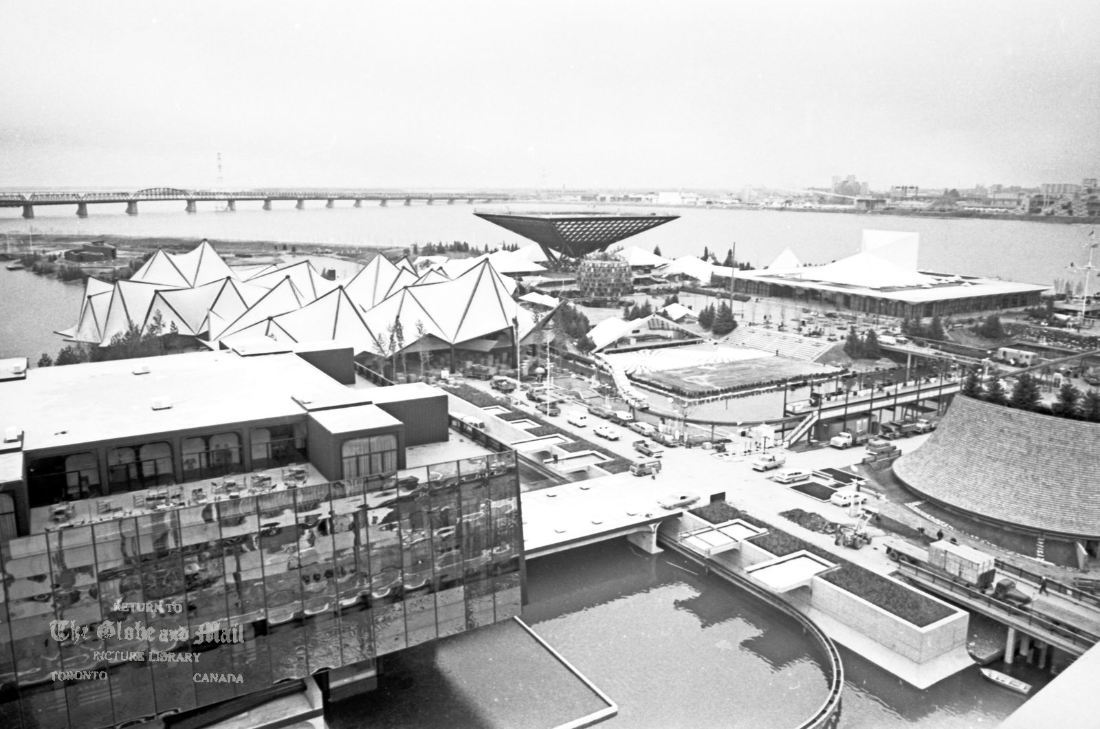 MONTREAL -- EXPO 67 -- View of the fairgrounds prior to opening, April 24, 1967. Credit: John McNeill / The Globe and Mail Negative #67114-35