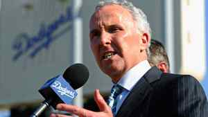 Los Angeles Dodgers owner Frank McCourt speaks at a news conference at Dodger Stadium prior to a game between the St. Louis Cardinals and Los Angeles Dodgers on April 14, 2011 in Los Angeles, California. Large numbers of LAPD officers are being deployed as part of a zero tolerance policy toward misbehaving fans in response to the opening day attack on Stow two weeks ago. (Photo by Kevork Djansezian/Getty Images)