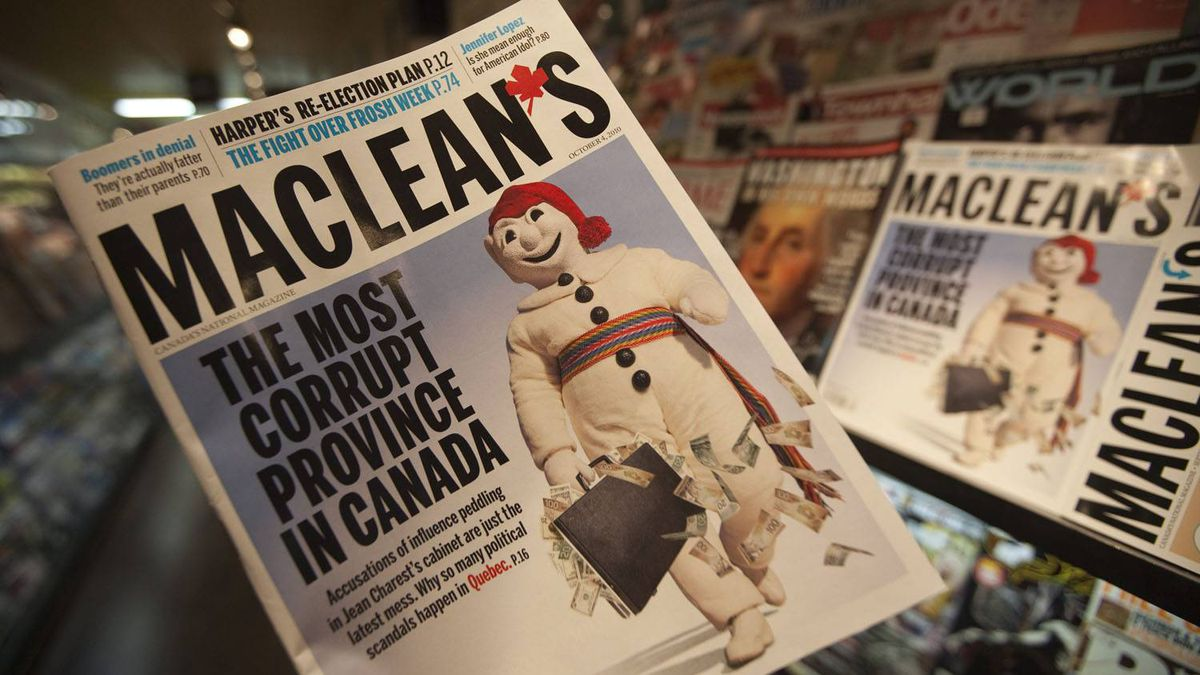 The Oct. 4, 2020, edition of Maclean's magazine. Jonathan Hayward/The Canadian Press