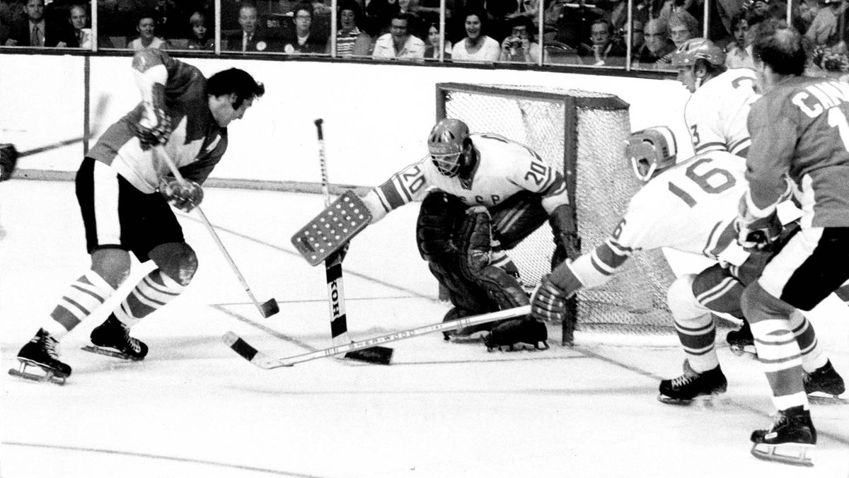 Phil Esposito scores in the second period of Game 2 of the Summit Series to give Canada a 1-0 lead over the Soviet Union. Canada went on to win the Sept. 4, 1972 game 4-1 in Toronto after losing Game 1 two days earlier before a shocked Montreal crowd.