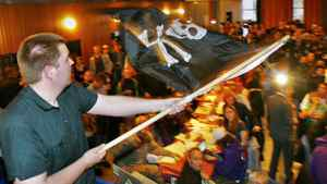 A supporter of Sweden's Pirate Party waves the Jolly Roger flag at an election night party as results are announced in EU Parliamentary elections in Stockholm June 7, 2009. A Pirate Party candidate is running in the federal byelection for Winnipeg North.