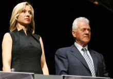 Frank Stronach and his daughter Belinda Stronach stand during Magna's annual general meeting of shareholders in Toronto on May 1, 2008.