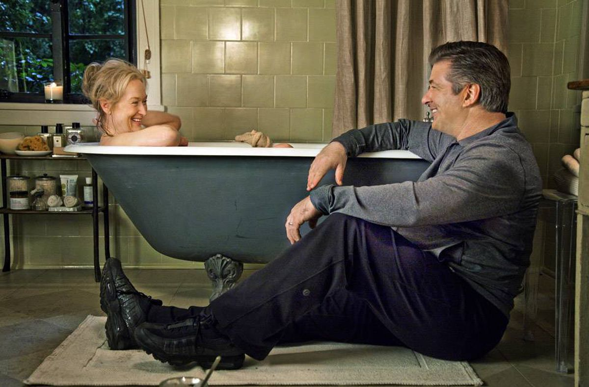 Sex with an aging ex: Cue the obvious laughs. Meryl Streep and Alec Baldwin star in It's Complicated.