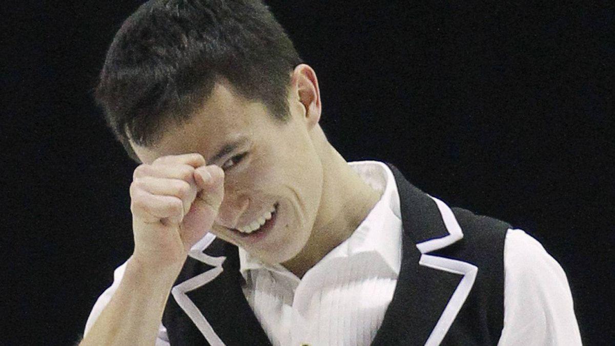 Canada's Patrick Chan reacts after the men's short program at the International Skating Union (ISU) Grand Prix of Figure Skating Finals at the Pavillon de la Jeunesse in Quebec City December 9, 2011. REUTERS/Mathieu Belanger