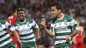 Juan Pablo Rodriguez of Mexico's Santos Laguna, right, celebrates after taking a penalty kick to score against Canada's Toronto F.C. during a semi-final match of the CONCACAF Champions League in Torreon, Mexico, Wednesday April 4, 2012.