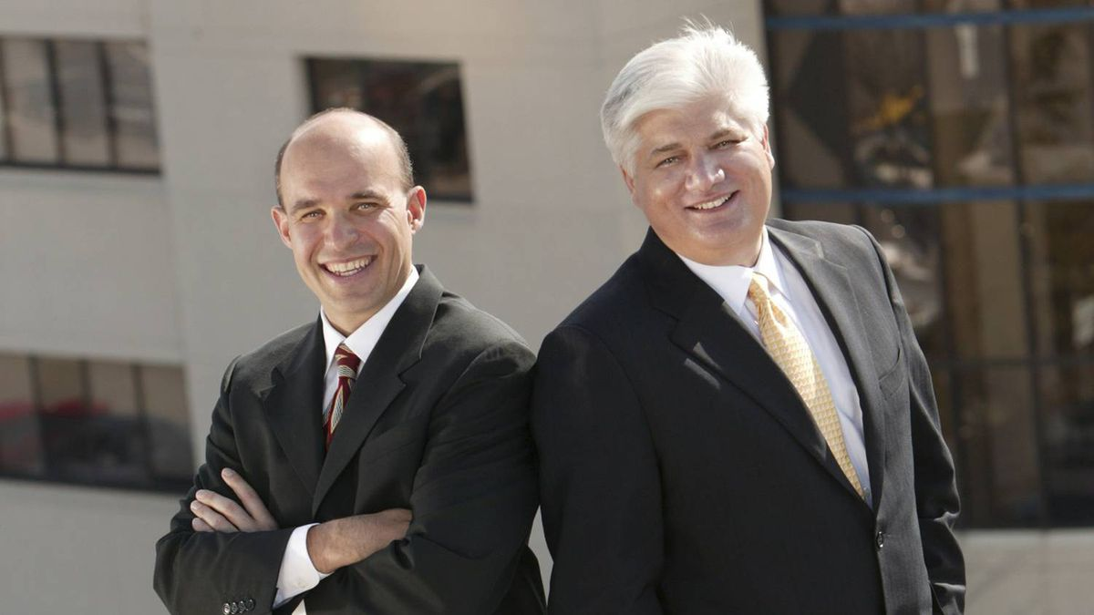 Jim Balsillie, left, and Mike Lazaridis, CEOs of Research in Motion (RIM)