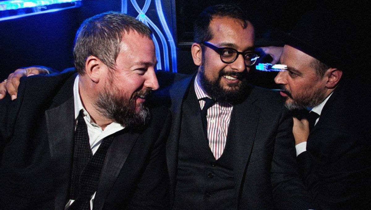 L-R Shane Smith (Vice Founder), Suroosh Alvi (Vice Founder), and Eddy Moretti (Executive Creative Director of Vice) at the Vice Holiday Party 2010