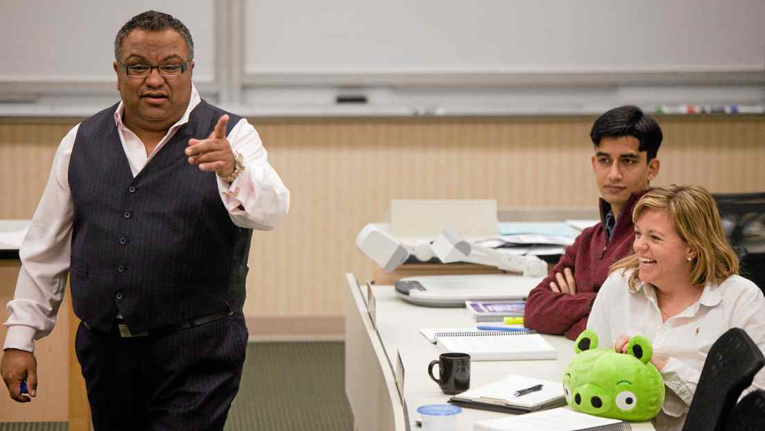 Ariff Kachra, Strategy Professor at the Richard Ivey School of Business in London, Ontario jokes with his class October 19, 2011. Professor Kachra uses innovative teaching methods like the use of stuffed animals to illustrate points in his class.