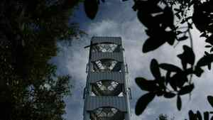 A cell tower disguised as a bell tower sits at George Young United Methodist Church in East Lake, Fla.