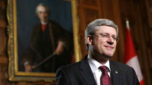 Prime Minister Stephen Harper discusses foreign takeovers at an interview in his office on Parliament Hill in Ottawa on Feb. 3, 2012.