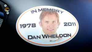 A sticker in memory of Dan Wheldon, who was killed in a crash on October 16, 2011 during the IZOD IndyCar series finale at Las Vegas Motor Speedway, is seen on the car of Ryan Newman, driver of the #39 U.S. Army Chevrolet, prior to practice for the NASCAR Sprint Cup Series Good Sam Club 500 at Talladega Superspeedway on October 21, 2011 in Talladega, Alabama.