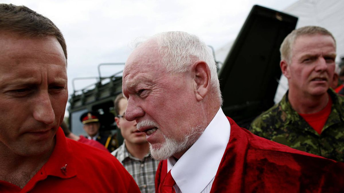 The Honourable, Peter Gordon MacKay, Minister of National Defence, speaks with Don Cherry. Before speaking speaking at the Red Friday Rally at the Canadian National Exhibition. Seen in Toronto, Canada on Friday, August 24, 2007.