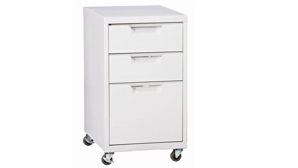 CB2's TPS Cabinet features two storage drawers and a letter/legal file drawer in durable sheet steel with stainless-steel handles. $189 through www.cb2.com.