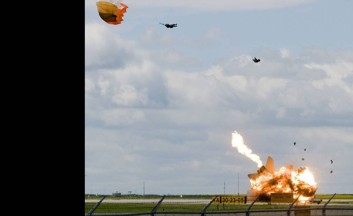 The pilot of a CF-18 fighter jet ejects before it crashes during a practice flight for this weekend's Alberta International AirShow in Lethbridge, Alta., at the Lethbridge County Airport.