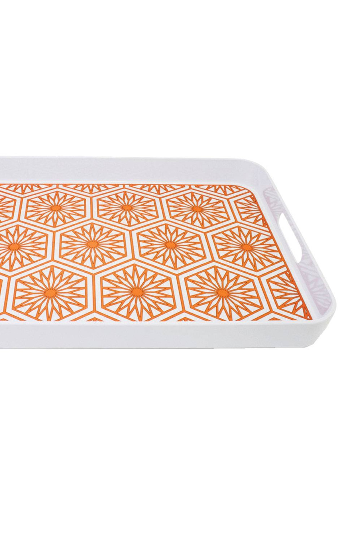 Make cocktail hour livelier than usual with a heavy-duty tray in a punchy pattern. Jonathan Adler Positano melamine serving tray, $48 through www.jonathanadler.com.