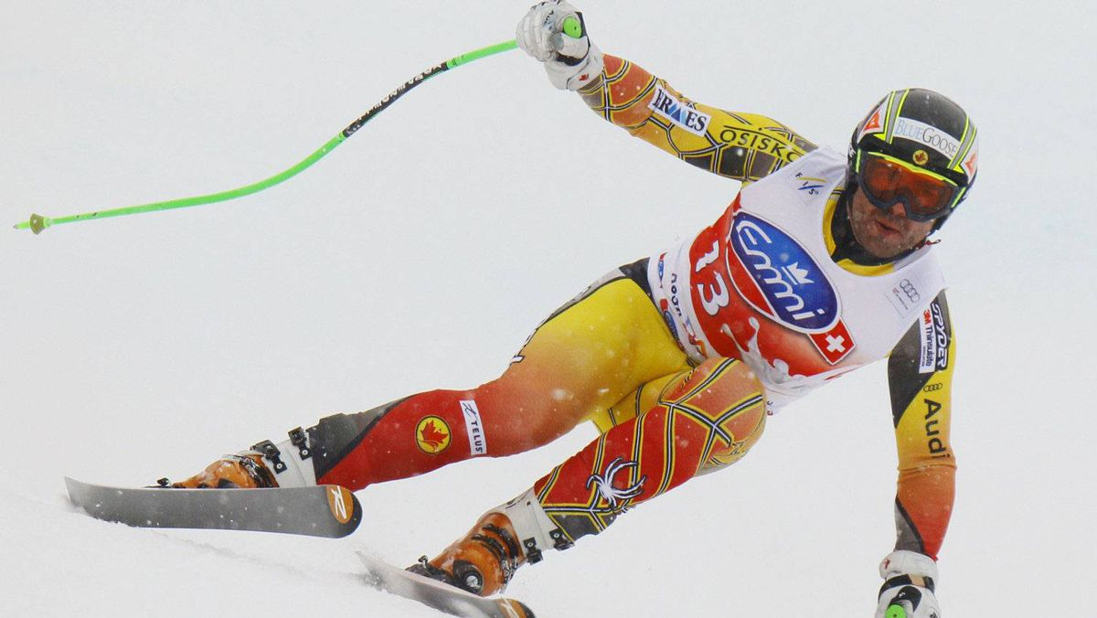 Jan Hudec of Canada speeds down in the second practice for the men's Alpine Skiing World Cup Downhill race in Rosa Khutor near Sochi February 9, 2012.