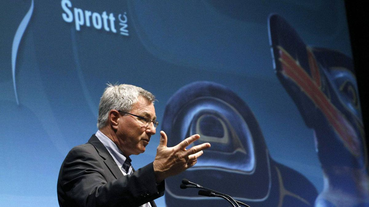 Sprott Inc. CEO Eric Sprott speaks during the annual general meeting of shareholders in Toronto. Asset managers such as Sprott Inc. that have a focus on resource funds are feeling the effects of a moribund mining sector.
