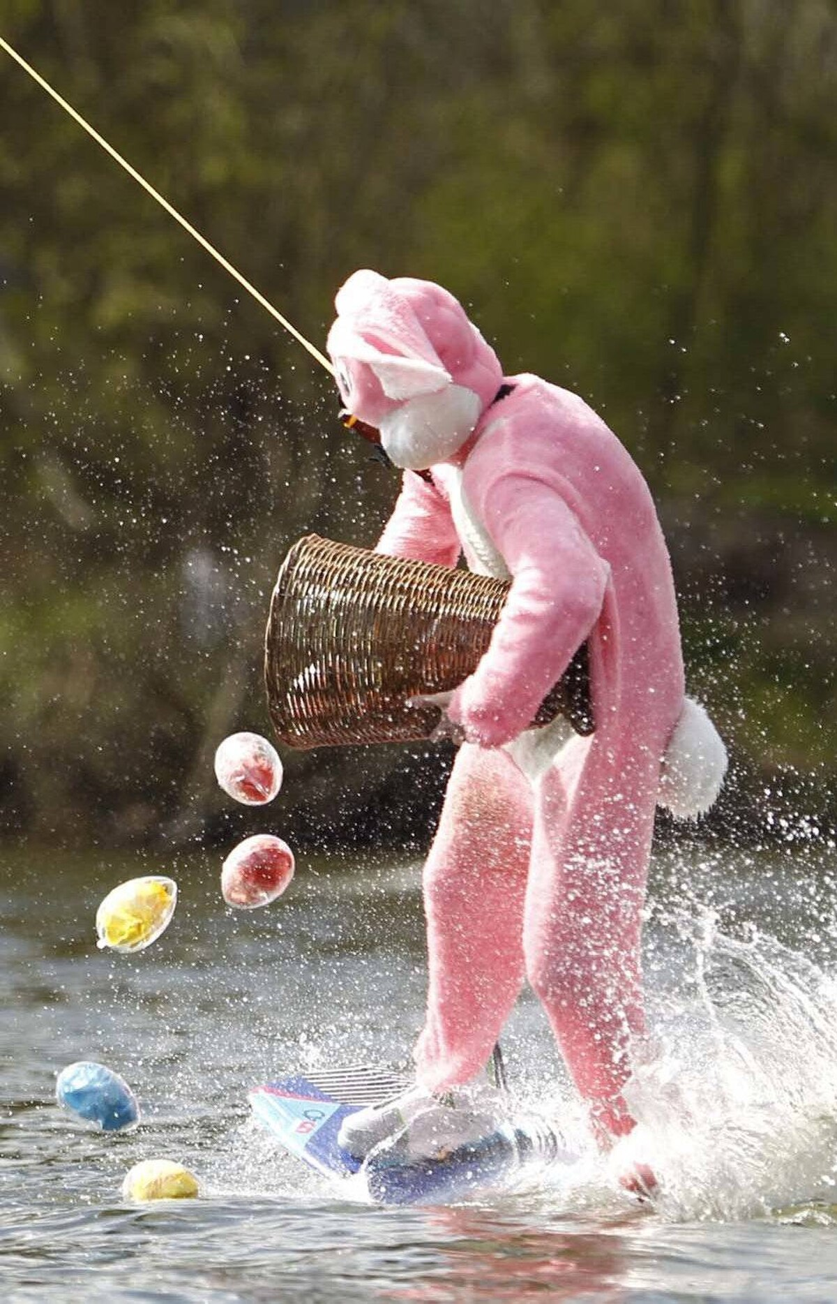 And meanwhile back in Germany, our pink bunny is now carpet-bombing the lake with plastic eggs. Because that's what Jesus would do.