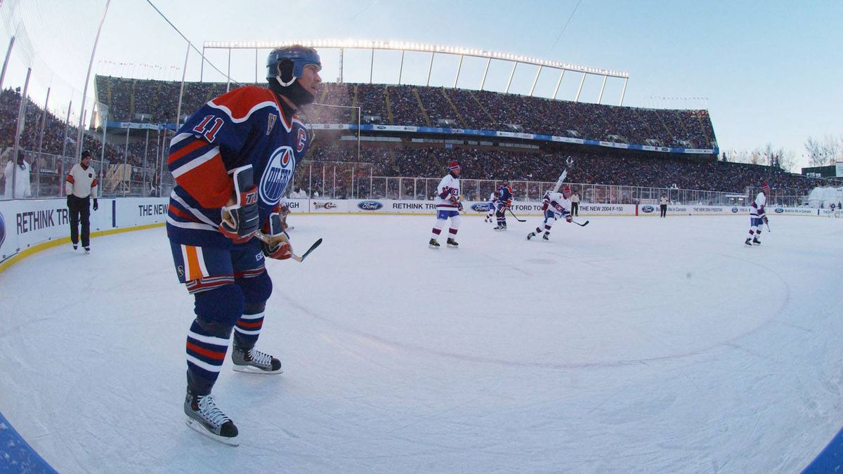 Mark Messier of the Edmonton Oilers skates against the Montreal Canadiens during the Molson Canadien Heritage Classic Megastars Game on November 22, 2003 at Commonwealth Stadium in Edmonton, Canada.