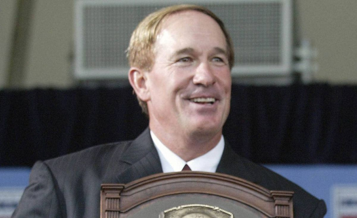 In this July 27, 2003, file photo, National Baseball Hall of Fame Inductees Gary Carter holds his plaque during induction ceremonies in Cooperstown, N.Y. Baseball Hall of Fame president Jeff Idelson said Thursday, Feb. 16, 2012, that Hall of Fame catcher Gary Carter has died. He was 57.