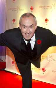 """CBC sports personality and host of """"Battle of the Blades"""" Ron MacLean executes a figure-skating moves for the cameras at the Gillers."""