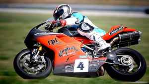 Freightliner Manitoba co-owner Rod Snyder rides his Ducati 1198 superbike in a race in Nebraska in 2010.