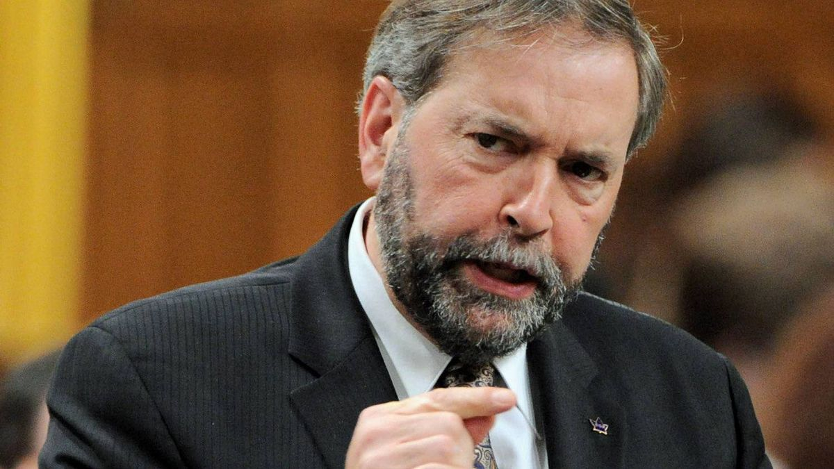 NDP Leader Tom Mulcair speaks during Question Period in the House of Commons on May 14, 2012.