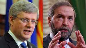 Prime Minister Stephen Harper and NDP Leader Thomas Mulcair deliver speeches to their respective caucuses in this May 2, 2012 photo combination.