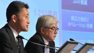 Executive Deputy President and Representative Corporate Executive Officer of Sony Corporation, Kazuo Hirai (L) answers questions during a press conference to announce the company's financial results in Tokyo on November 2, 2011. Japanese electronics giant Sony on November 2 said it now expected a heavy full-year loss of $1.15 billion as it reels from the impact of a strong yen, weak TV sales and severe flooding in Thailand.